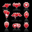 Set icons of Valentine's day red hearts — Stock Vector