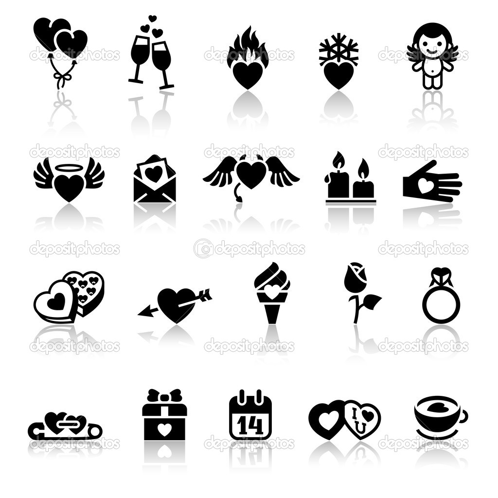 Set valentine's day icons, vector signs — Stock Vector #8620435