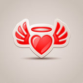 Heart with wings, the icon for your design — Stock Vector