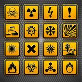 Hazard symbols orange vectors sign, on metal surface — Stock Vector