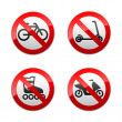 Set prohibited signs - active sports — Imagens vectoriais em stock