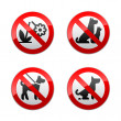 Set prohibited signs - animals — Stock Vector #8865056