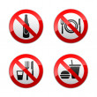 Set prohibited signs - cafe - Stock Vector