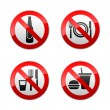 Set prohibited signs - cafe -  