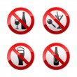 Set prohibited signs - don't drinks — Stock Vector