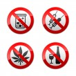 Set prohibited signs - drugs — Stok Vektör