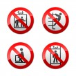 Set prohibited signs - elevator — Stock Vector #8865820