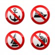 Set prohibited signs - fishing — Stock Vector #8865955