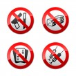Stock Vector: Set prohibited signs - gaming