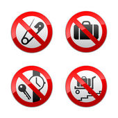 Set prohibited signs - airport — Stock Vector
