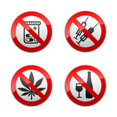 Set prohibited signs - drugs — Stock Vector