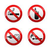 Conjunto signos prohibidos - llamas — Vector de stock