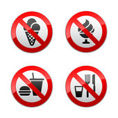 Set prohibited signs - foods — Stock Vector