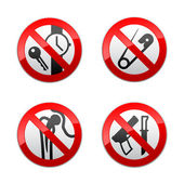 Set prohibited signs - metal detector — Stock Vector