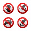 Set prohibited signs - not touch — Stock Vector #8876536