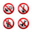 Stock Vector: Set prohibited signs - park.