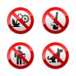 Set prohibited signs - park. - Stock Vector