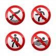 Set prohibited signs - sport — Stok Vektör
