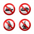 Stock Vector: Set prohibited signs - water sports