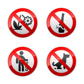 Set prohibited signs - park. — Stock Vector