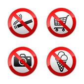 Yasak işaretleri - süpermarket sembolleri ayarla — Stok Vektör