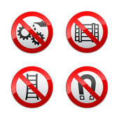 Set prohibited signs - technical symbols — Stock Vector