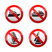 Set prohibited signs - water sports — Stock Vector
