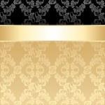 nahtlose Muster, florale dekorativen Hintergrund, gold ribbon — Stockvektor