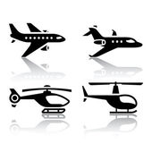 Set of transport icons - airbus and helicopter — Stock Vector