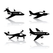 Set of transport icons - airplane — Stock Vector