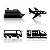 Set of transport icons - tourist transport — Stok Vektör
