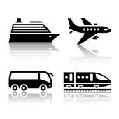 Taşıma simgeler - turistik taşıma kümesi — Stok Vektör