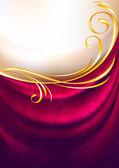 Rosa stoff vorhänge mit ornament, hintergrund, eps10, verlaufsgitter — Stockvektor