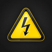 Hazard warning triangle high voltage sign on a metal surface, 10eps — Stock Vector