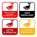 CCTV pictogram, video surveillance, set symbol security camera — Stock Vector