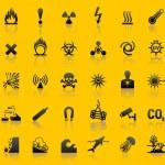 impostare i simboli di avvertenza di pericolo — Vettoriale Stock