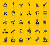 Set hazard warning symbols — Stock Vector