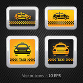 Taxi cab set buttons on background pixel — Stock Vector