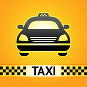 Taxi cab symbol on background pixel pattern — Stock Vector