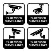 Etiquetas de cctv, sistema símbolo seguridad cámara pictograma — Vector de stock