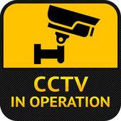 CCTV symbol, label security camera — Stock Vector