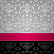 Seamless decorative background silver with pink ribbon — ストックベクター #9931539