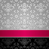 Seamless decorative background silver with a pink ribbon — Stockvector