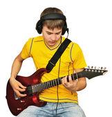 подросток с электрической гитарой — Стоковое фото
