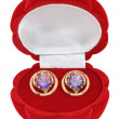 Gold earrings with rock crystal (quartz) — 图库照片 #9109988