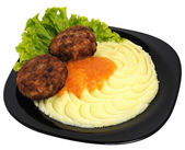 Mashed potatoes with meatballs — Stock Photo