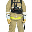 Firefighter in a special outer protective clothing — Stock Photo