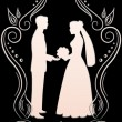 Silhouettes of the bride and groom in a frame_4 — Stockvektor