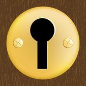 Fechadura de porta de metal dourado na porta de madeira escura — Vetor de Stock