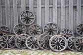 Rodas de transporte de madeira — Foto Stock